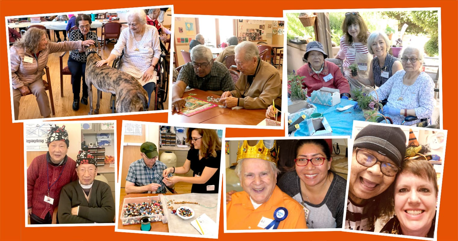 Collage of photos of Avenidas Rose Kleiner Center participants and staff enjoying activities together before the pandemic