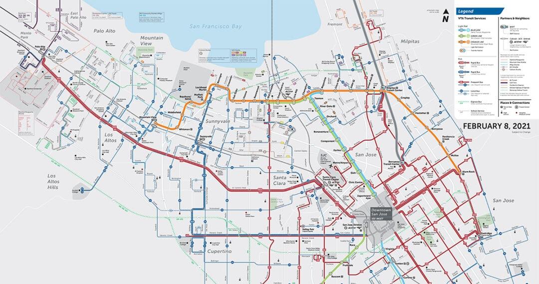 VTA route map for 2021: Palo Alto, Mountain View, Los Altos, Sunnyvale, Cupertino, Santa Clara, San Jose